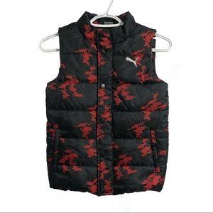 Puma, black and red puffer vest.
